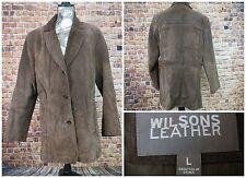 Wilsons Women Suede Leather Jacket Size Large Dark Brown