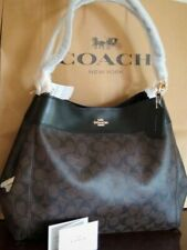 NWT Women's Coach Lexy shoulder bag in signature Canvas/leather brown Black