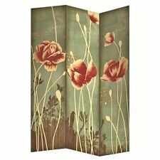 3 Panel Folding Screen Room Divider with Flower Rose and Foliage Motif