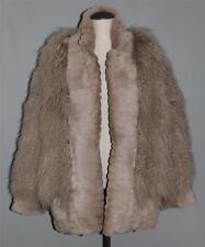 Vtg SUPER PLUSH Taupe Long Curly TIBET LAMB & Rabbit Trim Fur Coat Wms L-XL EXC