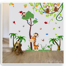 Animal Wall Stickers Owl Monkey Jungle Height Chart Nursery Baby Room Decals Art