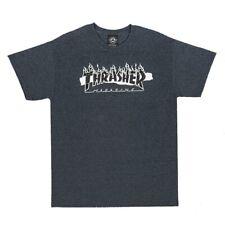 Thrasher Magazine Ripped Logo Skateboard T Shirt Dark Heather Xl