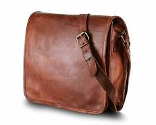 Goat polished Leather messenger Real satchel bag genuine Laptop brown briefcase