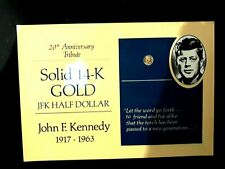 2=1+1: 14K Solid Gold Us$0.5 Coin Of Jfk,Kennedy 20Th Anniv. + Us Old One Cent