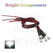 5 x Pre-Cablato Bianco LED 5mm Flat Top: 9V ~ 12V: 1st Class Post