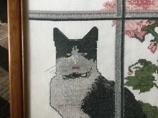 """Completed Framed Cat Crosstitch 14""""X 11"""""""