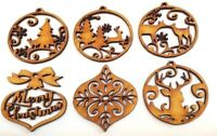 WOODEN CHRISTMAS TREE DECORATIONS gift craft card embellishment tag scrapbook