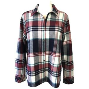 Orvis Womens Flannel Shirt Jacket Fleece Lined Red White Plaid Pockets Size L