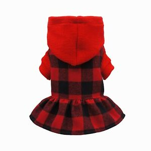 Fitwarm Red Plaid Dog Winter Clothes Knitted Pet Sweater Dress Warm Hoodies Coat