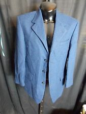 Utex Design Blue Black Houndstooth Blazer Jacket Mens Size 42R Wool RN# 52539