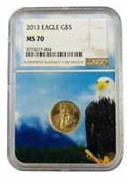 2013 $5 Gold Eagle NGC MS70 - Eagle Core - Brown Label