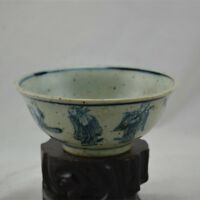 Chinese ancient antique hand make Blue and white porcelain Character bowl