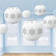 6 Christmas Party Winter White Silver Snowflake Hanging Lanterns Decorations