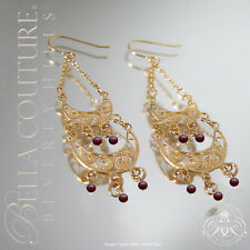 NEW $500 VICTORIAN ANTIQUE GARNET 14K GOLD CHANDELIER DROP  DANGLE VTG EARRINGS