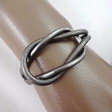 """Dansk Smykkekunst - 'Sarah' Grey Leather Matt Hematite Plate Link Bracelet 7.25"""""""