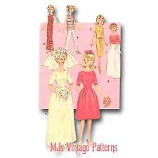 Vtg 1960s Barbie Midge Doll Clothes Pattern ~ Bride Wedding Dress + more outfits