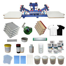 TECHTONGDA 4 Color 2 Station Screen Printing Press with Starter Materials Kit