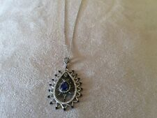 925 STERLING SILVER BLUE SAPPHIRE , CUBIC ZIRCONIA STONE NECKLACE N-1324