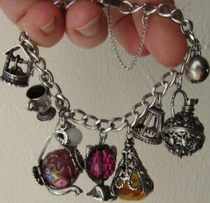 Antique Sterling Silver 925 multi Charm Padlock Safety chain Bracelets