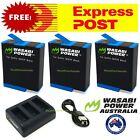 GoPro HERO10 8 9 7 6 5 4 3 3+ Battery/Dual/Triple Charger/Wasabi HERO Black Kit <br/> Free EXPRESS Shipping ! 3 Year WARRANTY ! FAST Dispatch