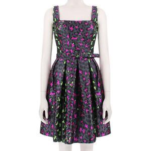 Christopher Kane Grey Pink Green Silk Leopard Jacquard Princess Dress UK10 IT42