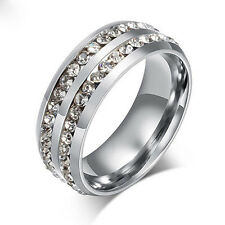 Hot Unisex CZ Stainless Steel Ring Men/Women's Wedding Band Rings Silver Size8