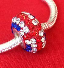 Union Jack - CZ Glass Crystal Charm Bead - For Charm Bead Bracelets - Flag