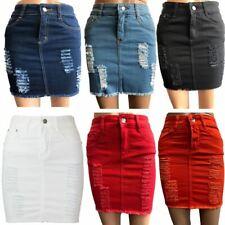 Womens Laser Cut Denim Distressed Mini Skirt Ladies Ripped Stretch Bodycon Skirt