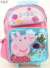"Peppa Pig Pretty Flutter Girls 16"" Large rolling Backpack School Bag"