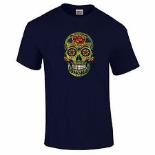 Gold Sugar Candy Skull Mexico Day Of The Dead Gothic Alternative Floral T-Shirt