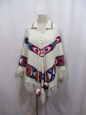 Vintage 60s  Sweater Poncho Fringe Boho Hippy Pompoms Indie Festival Retro Cape