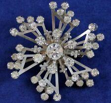 VTG c1950's HIGH-END PRONG-SET CLEAR RHINESTONES LG STARBURST FLOWER Brooch Pin