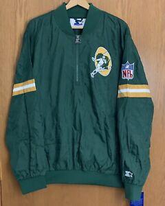 Green Bay Packers Pullover Men's XL Starter Throwback Windbreaker Jacket 1/2 Zip