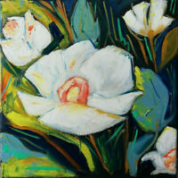 Oil original painting flowers on canvas size 12x12 inches