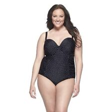 New Retro Pinup Pure Energy Black White Polka Dot Ruched One Piece Swimsuit 26W