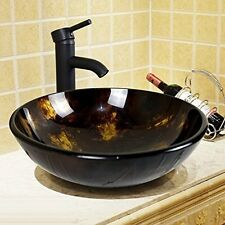NEW Bathroom Round Glass Vessel Sink ORB Faucet&Pop up Drain Combo Set Brown