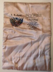 WWII Vintage Silk Pillow Cover - US Army Sweetheart Hankies