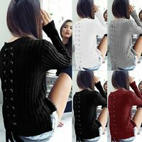 Women Winter Long Sleeve Lace-up Knitwear Jumper Wool Sweater Pullover Top Cable