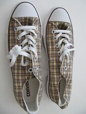 MENS CONVERSE SHOES ALL STAR MENS 6 WO'S 8  CAMP PLAID OX KHAKI AND BROWN