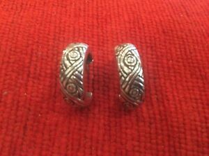 Heavy 925 Silver Half Hoop Earrings With Celtic Design Stamped 925 To Both
