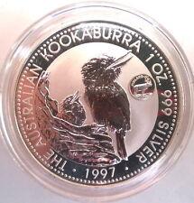 """Australia 1997 """"Finland"""" Mark Kookaburra 1oz Silver Coin,BU"""