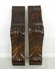 """11.5"""" Pair of French Antique Carved Wood Corbel - Wall Shelf Decor - Oak Wood"""