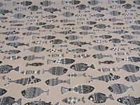 """Black FISH Marine Fabric Linen Look Material Curtain Upholstery 55"""" wide canvas"""