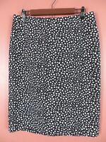 SK13337- TALBOTS Womens 96% Polyester Pencil Skirt Black White Geo Sz 10 MINT