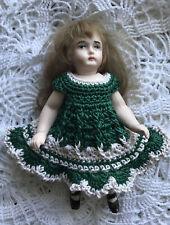Crochet Dress for 4 - 4.5 Inch Frozen Charlotte Bisque Mignonette Doll Grn/ecru