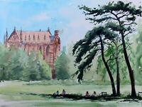 Keble College Oxford University parks trees city original watercolour painting