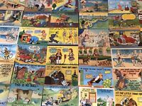 Lot of 50 Linen Humor Comic ~Funny Vintage Postcards- Unused-a443