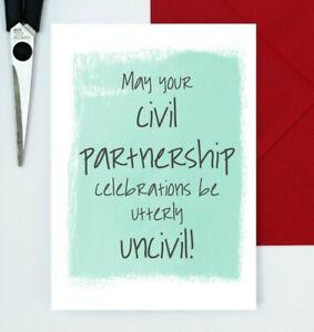 funny civil partnership card - congratulations card - uncivil celebrations card