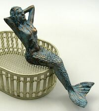 Cast Iron Mermaid Lounging Set of 2 Antique Patina Nautical Decor