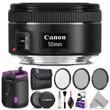 Canon EF 50mm f/1.8 STM Standard Prime Lens with Accessories Bundle